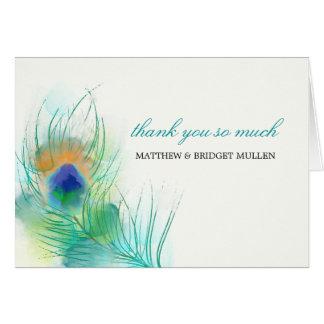 Cartão Obrigado da pena do pavão da aguarela você