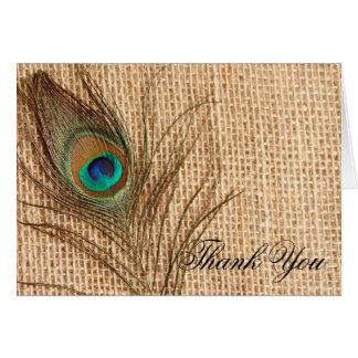 Cartão Obrigado da pena do pavão de serapilheira você