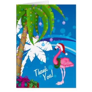 Cartão Obrigado da praia do feriado do flamingo do papai