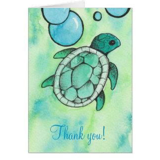 Cartão Obrigado da tartaruga de mar você notas