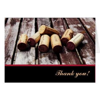 Cartão Obrigado das cortiça da garrafa de vinho você