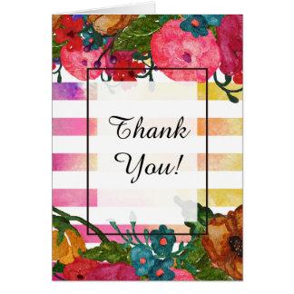 Cartão Obrigado das flores & das listras   da aguarela