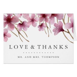 Cartão Obrigado das flores de cerejeira da aguarela você