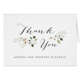 Cartão Obrigado das flores do prado você - branco