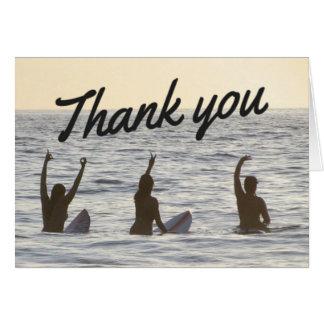 Cartão Obrigado das namoradas do surfista você Notecard