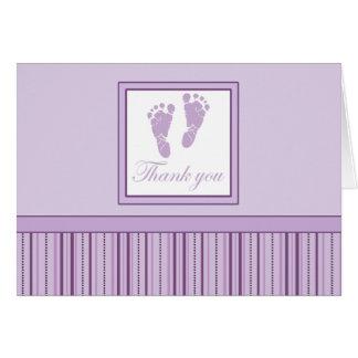 Cartão Obrigado das pegadas do bebê você - roxo