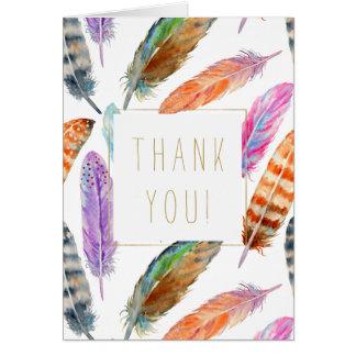 Cartão Obrigado das penas da aguarela você