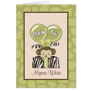 Cartão Obrigado de CA do chá de fraldas da selva do