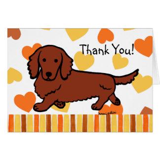 Cartão Obrigado de cabelos compridos vermelho do