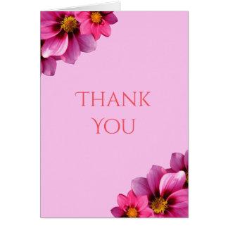 Cartão Obrigado de canto decorativo elegante das dálias