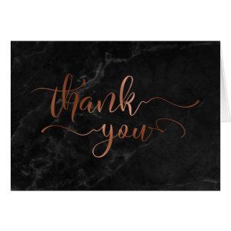 Cartão Obrigado de cobre do roteiro da folha do falso