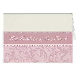 Cartão Obrigado de creme cor-de-rosa do melhor amigo você