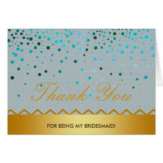 Cartão Obrigado de linho da dama de honra do brilho do