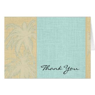 Cartão Obrigado de linho e azul de creme das palmeiras