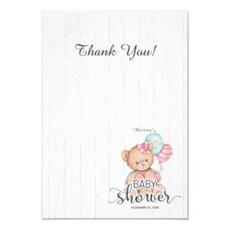 Cartão Obrigado de madeira branco do chá de fraldas da
