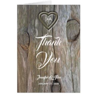 Cartão Obrigado de madeira cinzelado do casamento do