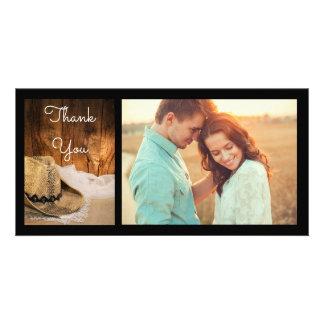 Cartão Obrigado de madeira do chapéu de vaqueiro e do