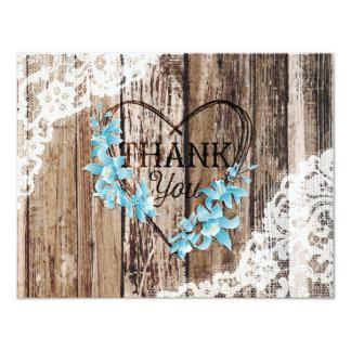 Cartão Obrigado de madeira do laço da orquídea rústica