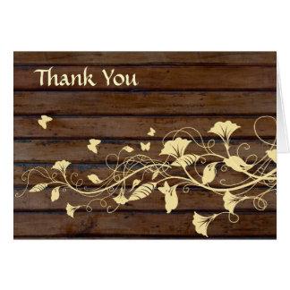 Cartão Obrigado de madeira escuro de Brown você