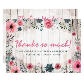 Cartão Obrigado de madeira rústico da anêmona dos rosas
