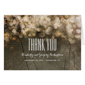 Cartão Obrigado de madeira rústico das luzes da corda do