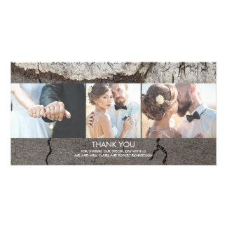 Cartão Obrigado de madeira rústico do casamento do
