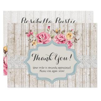 Cartão Obrigado de madeira rústico floral do vintage do