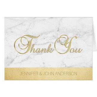 Cartão Obrigado de mármore branco original elegante da