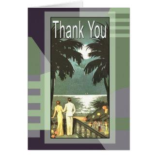 Cartão Obrigado de Miami Beach do vintage do art deco