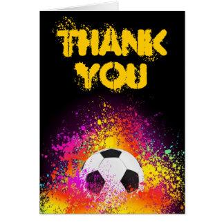 Cartão Obrigado de néon colorido do tema do futebol você