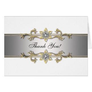 Cartão Obrigado de prata branco do ouro da jóia do ouro
