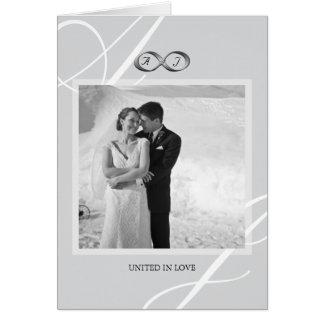 Cartão Obrigado de prata da foto do casamento do fecho da