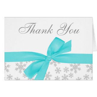 Cartão Obrigado de prata do arco da cerceta dos flocos de