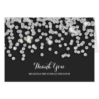 Cartão Obrigado de prata do casamento de diamantes você