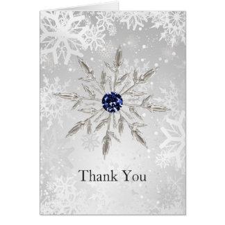 Cartão obrigado de prata do casamento no inverno dos