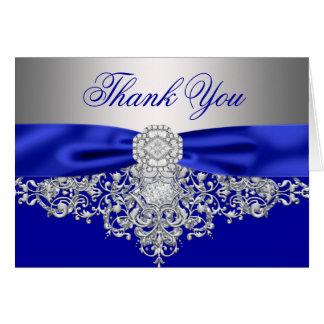 Cartão Obrigado de prata do diamante dos azuis marinhos