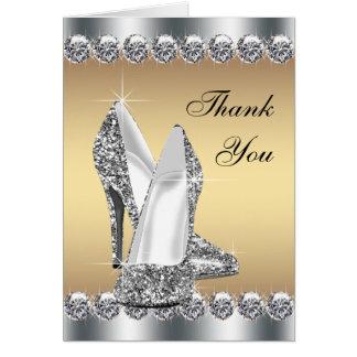 Cartão Obrigado de prata dos calçados do salto alto do
