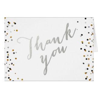 Cartão Obrigado de prata elegante do roteiro do brilho da