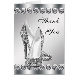 Cartão Obrigado de prata elegante dos calçados do salto