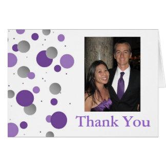 Cartão Obrigado de prata roxo do casamento das bolinhas