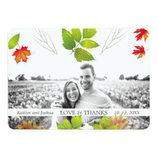 Cartão Obrigado de queda do casamento do carvalho do