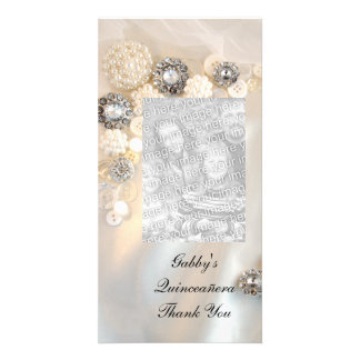 Cartão Obrigado de Quineañera dos botões do diamante da