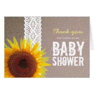 Cartão Obrigado de serapilheira do girassol & de chá de