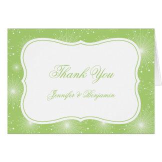 Cartão Obrigado de Starbursts do verde limão e do branco