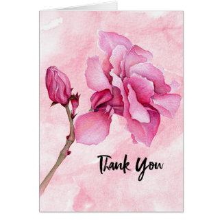 Cartão Obrigado design cor-de-rosa da flor