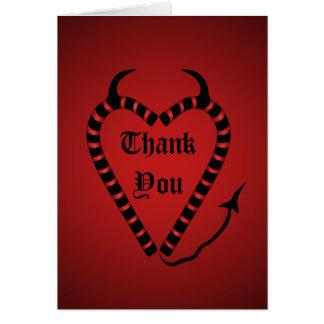 Cartão Obrigado diabólico do Natal do coração do bastão