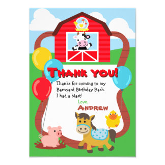 Cartão Obrigado do animal de fazenda do aniversário do