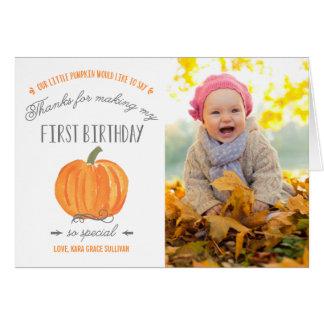 Cartão Obrigado do aniversário da abóbora | da queda