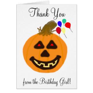 Cartão Obrigado do aniversário do Dia das Bruxas você