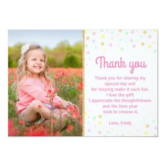 Cartão Obrigado do aniversário você confetes cor-de-rosa